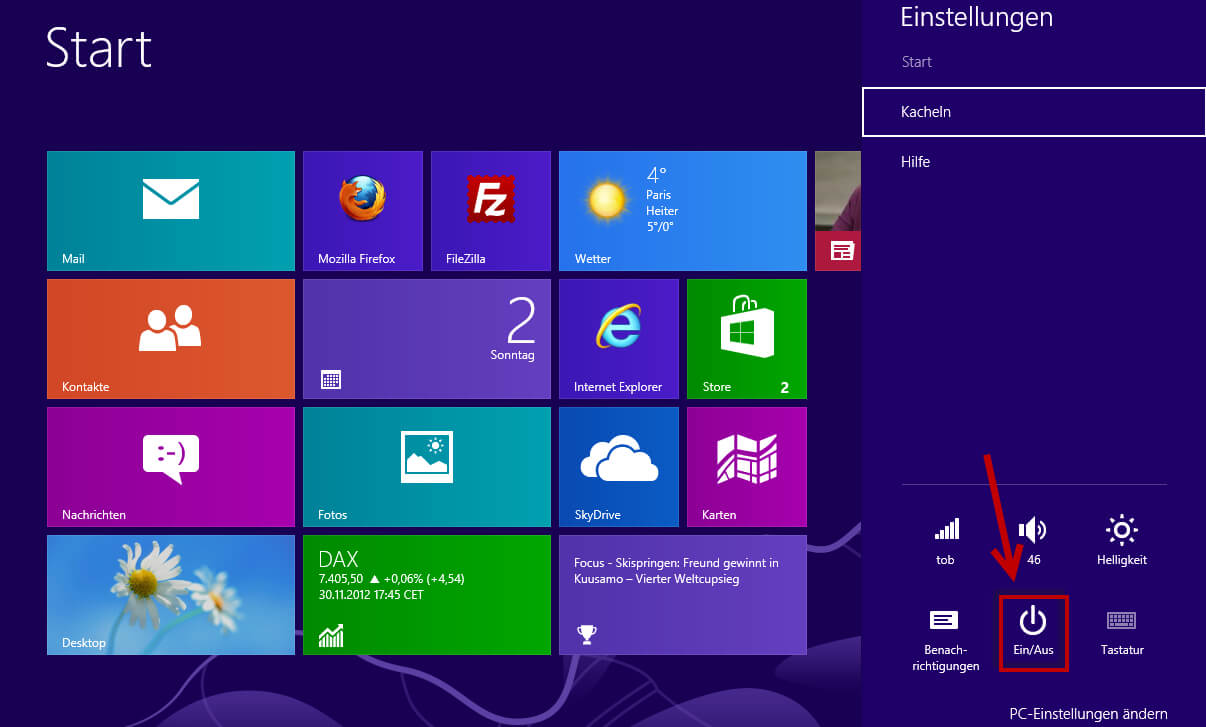 Windows 8 beenden